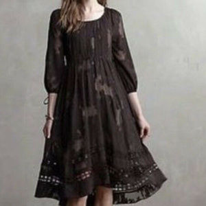 Maeve Anthropologie Iniga Swing Dress Black Sz- 2